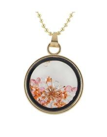 Orange Flower Shape Round Pendant Necklace