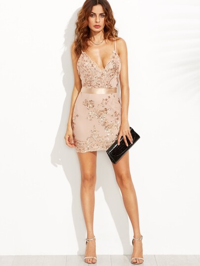Open Back Plunge Sequins Cami Dress