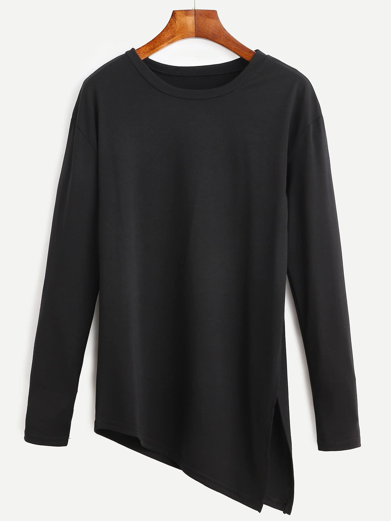 Black Asymmetrical Slit Side Long Sleeve T-shirt RTSH160812101