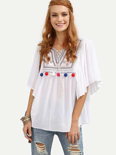 White Lace-up Pom-pom Decorated Blouse