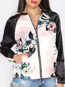 Pink Flower Print Contrast Raglan Sleeve Silky Bomber Jacket