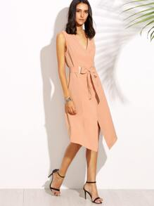 Pink V Neck Tie Waist Asymmetrical Sleeveless Outerwear