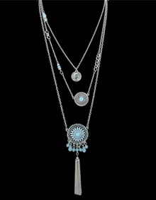 Blue Gemstone Multilayers Pendants Necklace