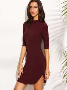 Burgundy High Neck Dolphin Hem Half Sleeve Sheath Dress