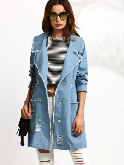 Blue Double Breasted Distressed Denim Trench Coat