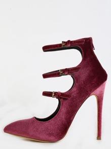 Pointy Toe Multi Strap Velvet Heels MAUVE