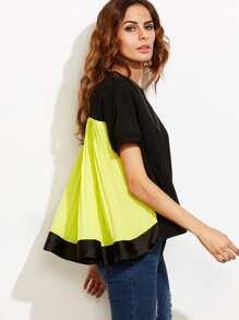 Color Block V Neck Short Sleeve Blouse