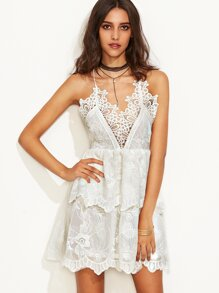 Beige Spaghetti Strap Appliques Double Layer Dress