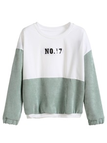 Color Block Drop Shoulder Patch Sweatshirt