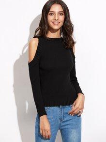 Pull tricoté à nervures épaules ouvertes - noir