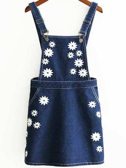 Blue Embroidered Zipper Back Pinafore Dress