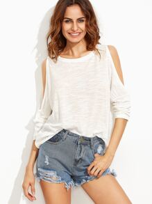 White Open Shoulder Slub T-shirt