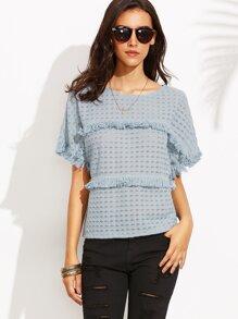 Blue Short Sleeve Tassel T-Shirt