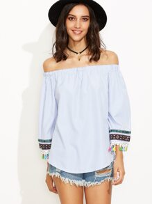 Blue Vertical Striped Embroidered Tape Detail Fringe Top