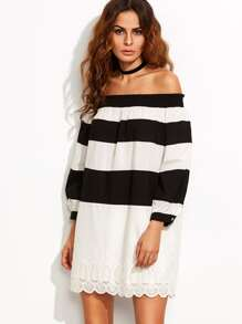 Black and White Striped Off The Shoulder Shift Dress