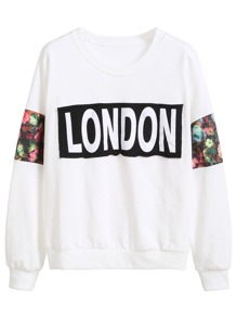 White Letters And Floral Patchwork Sweatshirt