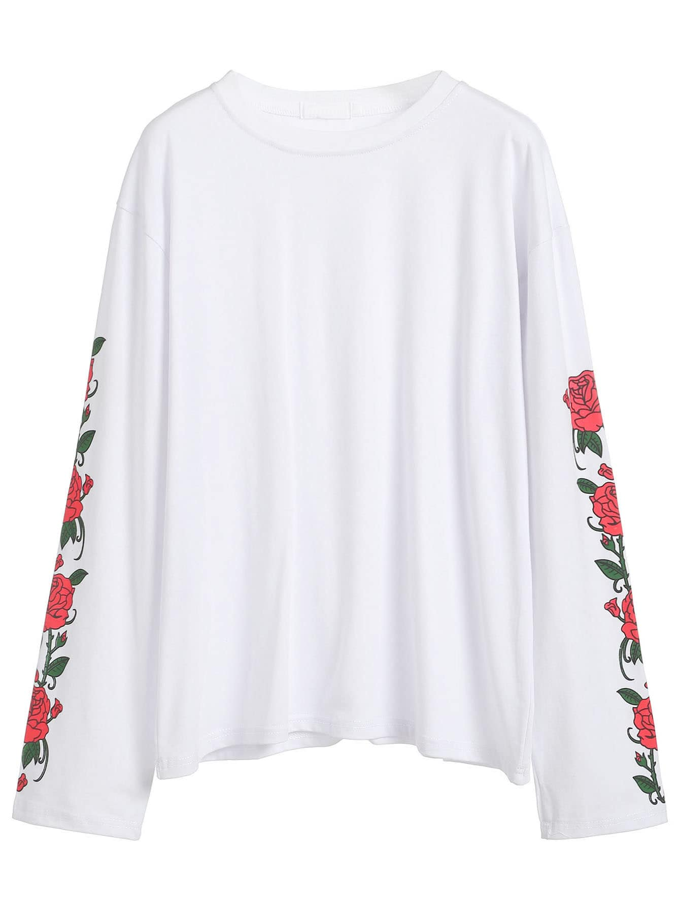 Rose Print Sleeve T-shirt -SheIn(Sheinside)