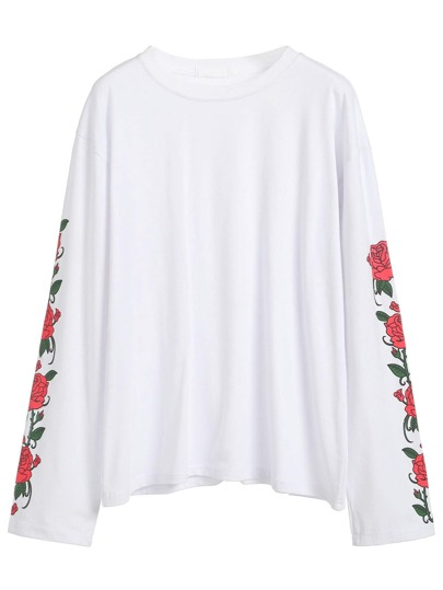 Rose Print Sleeve T-shirt
