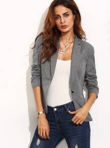 Grey Lapel Long Sleeve Blazer