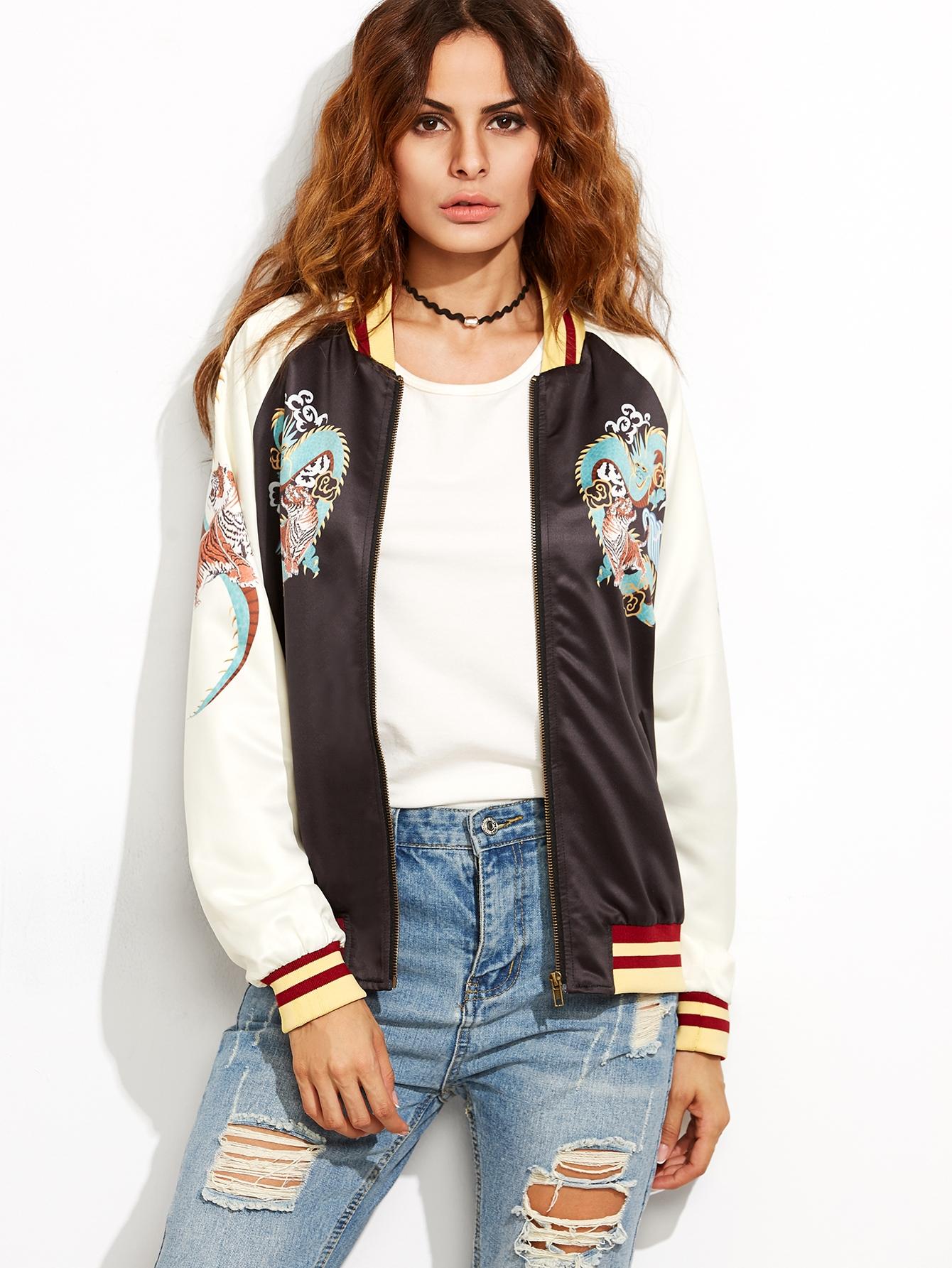 Black Striped Trim Contrast Raglan Sleeve Printed Bomber Jacket jacket160810701