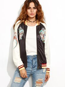 Black Striped Trim Contrast Raglan Sleeve Printed Bomber Jacket