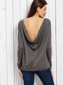 Dark Grey Plain Cowl Back Long Sleeve T-shirt