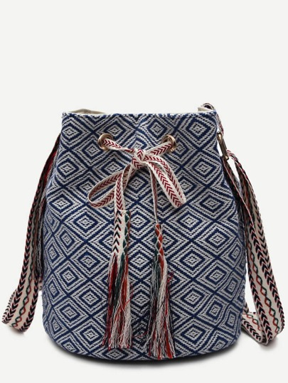 Blue Meande Pattern Canvas Bucket Bag