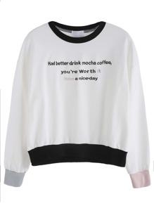 Color Block Letter Print Drop Shoulder Sweatshirt