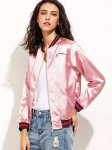Pink Letter Embroidery Zipper Up Baseball Jacket
