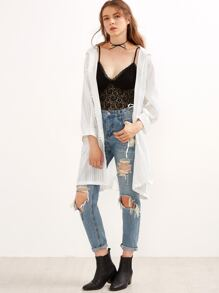 White Drawstring Waist Hooded Long Coat