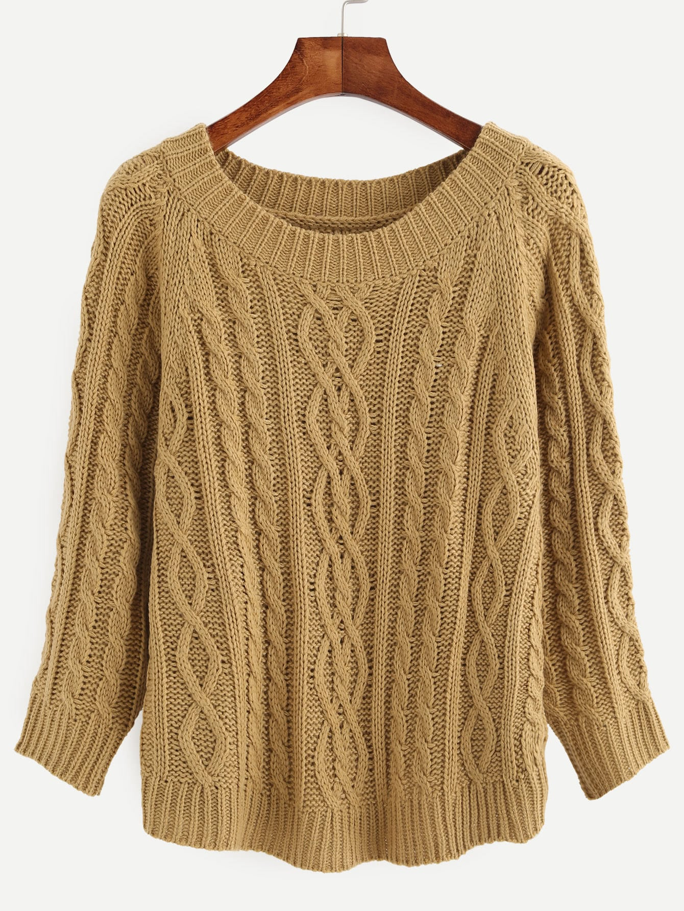 Khaki Cable-knit Round Neck Long Sleeve SweaterKhaki Cable-knit Round Neck Long Sleeve Sweater<br><br>color: Khaki<br>size: one-size