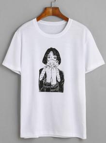 T-Shirt mit Katze Druck - weiß