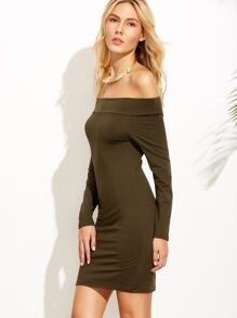 Army Green Off The Shoulder Bodycon Dress