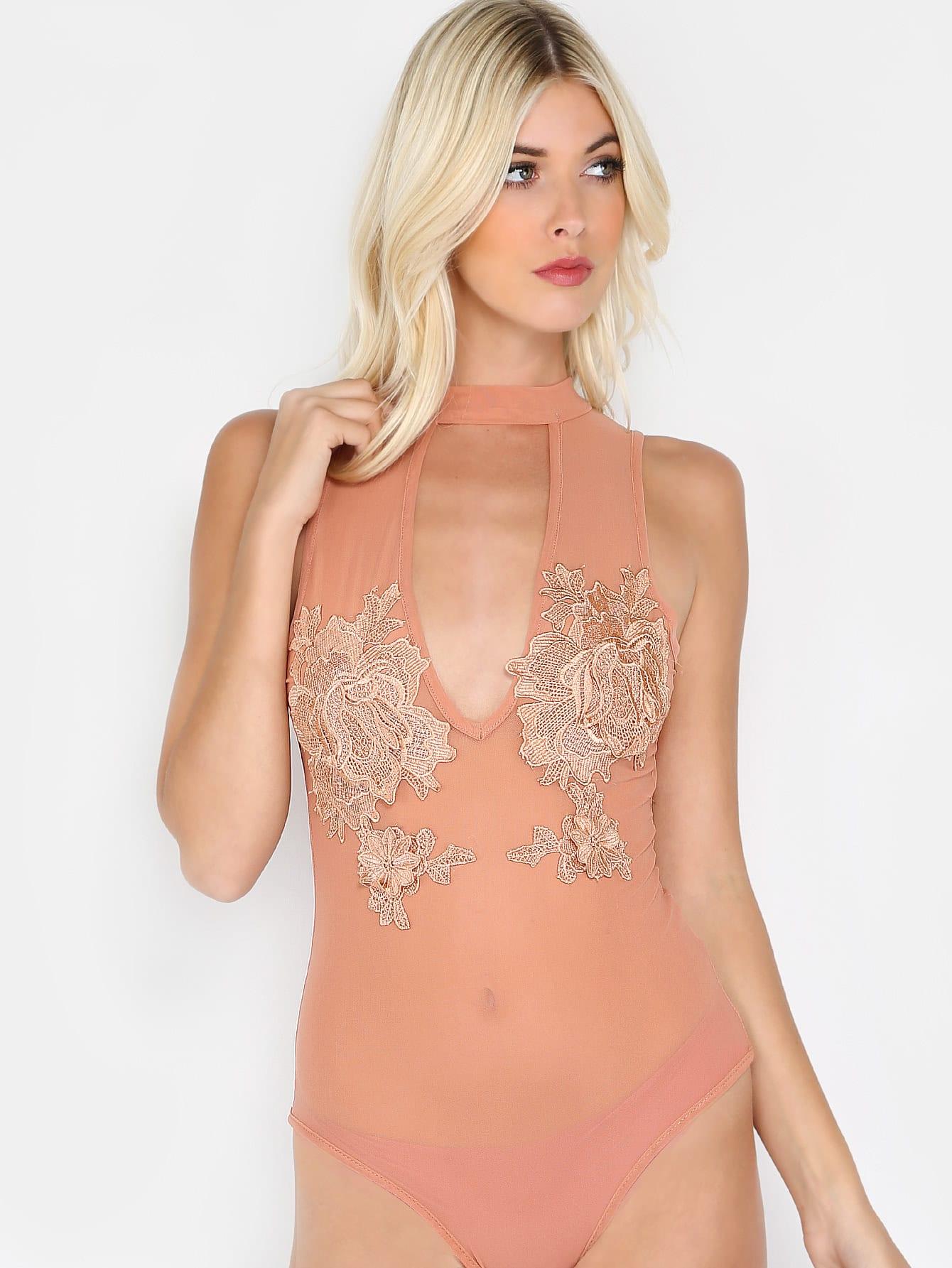 Фото Cutout Choker Embroidered Lace Applique Sheer Bodysuit. Купить с доставкой