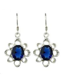 Silver Drop Stone Earrings