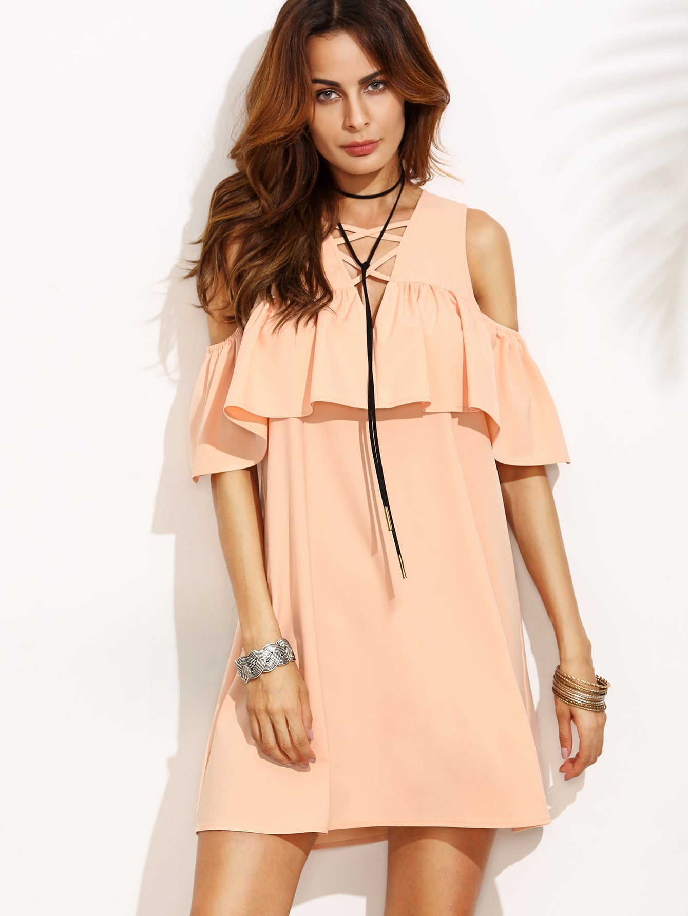 Pink Cold Shoulder Ruffle Criss Cross V Neck Dress dress160802506