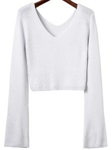 White Double V Back Ribbed Knit Sweater