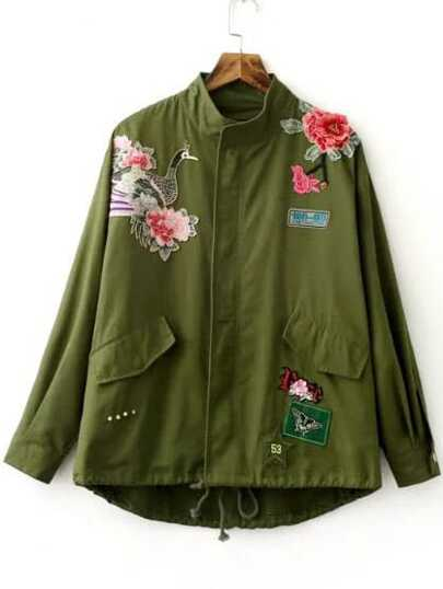 Embroidery Drawstring Hem Utility Coat