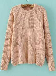 Pink Round Neck Side Zipper Cable Knit Sweater