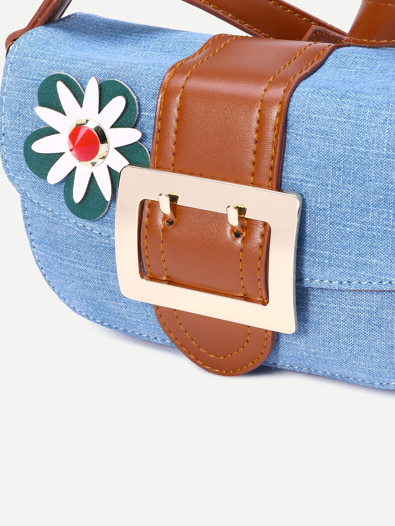 Light Blue Flower Embellished Denim Crossbody Bag -SheIn(Sheinside)