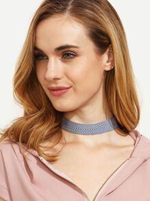 Navy Pinstripe Choker Necklace