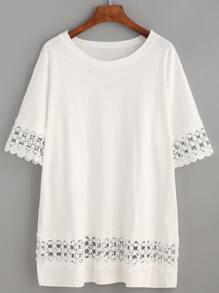 White Crochet Insert Lace Trim T-shirt