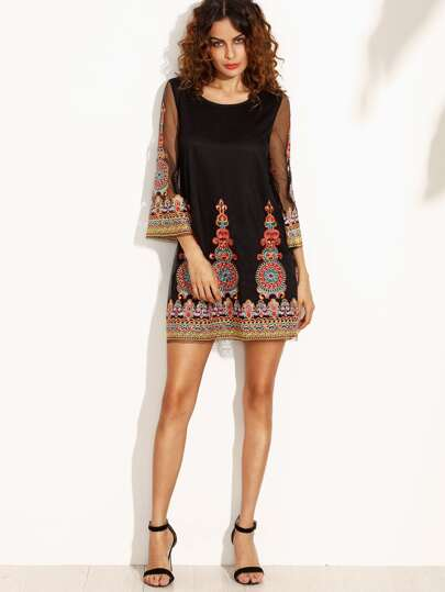 SheIn / Embroidered Mesh Overlay Dress