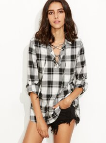 Black and White Plaid Lace Up Neck Blouse