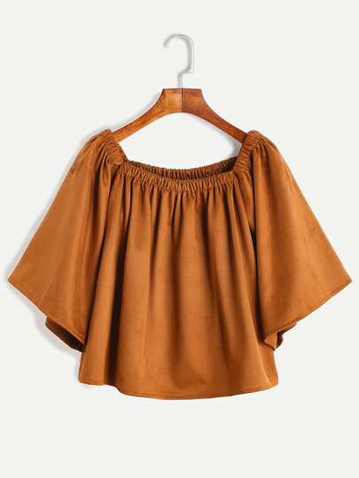 Brown Shirred Square Neck Pleated Suede Top