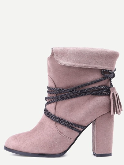 Brown Braided Strap Detail Fold Over Boots