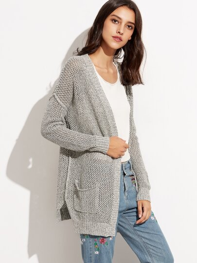 Grey Drop Shoulder Loose Knit Cardigan