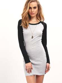 Grey Black Long Sleeve Color Block Bodycon Dress