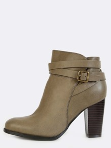Wrap Buckle Strap Stacked Booties TAUPE