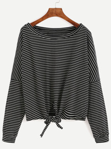 Black Striped Drop Shoulder Tie Front T-shirt